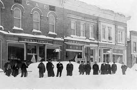 Main Street in Burton, Ohio on February 13, 1910