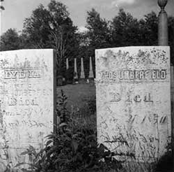 Lydia Umberfield and Thomas Umberfield headstones.