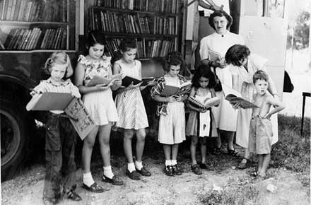 Early bookmobile, about 1940