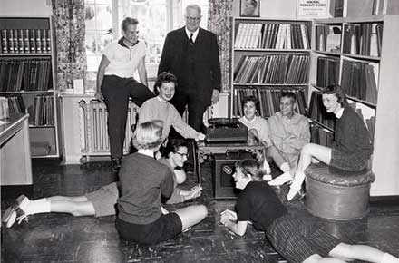 Teenagers in the library music room, 1956