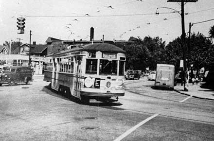 Streetcar at Mayfield and Coventry roads in Cleveland Hts, ca. 1940