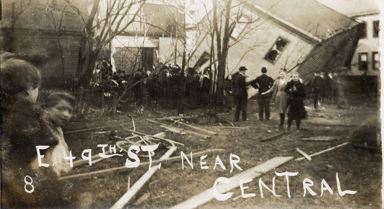 Tornado damage, April 21, 1909. East 49th St. near Central Ave.