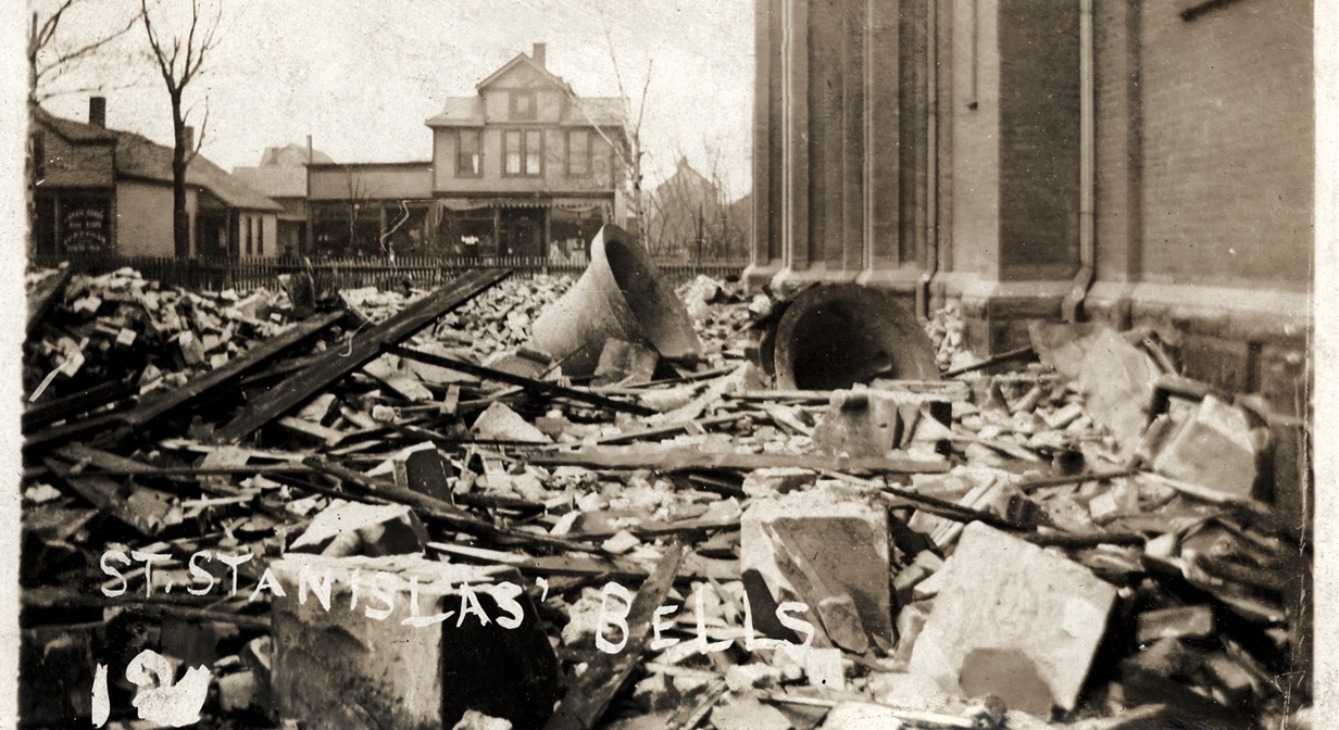 Tornado damage, April 21, 1909. St. Stanislaus' bells: the storm toppled the steeples of the church.