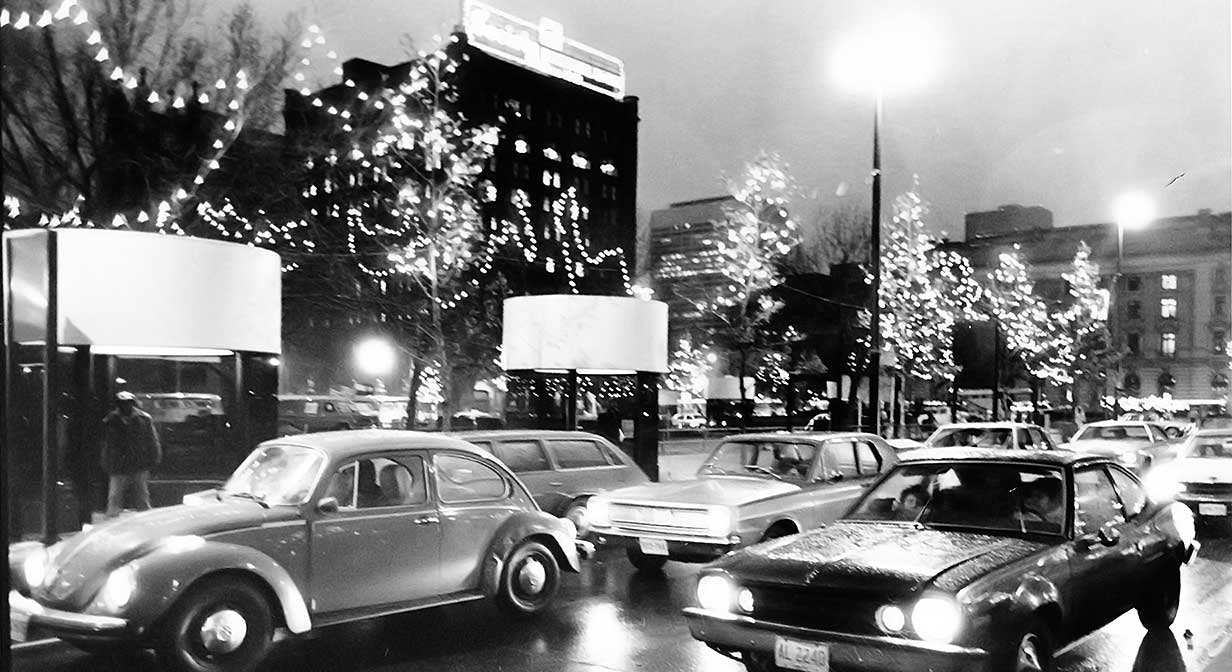 Downtown Cleveland with Christmas lights, 1980.