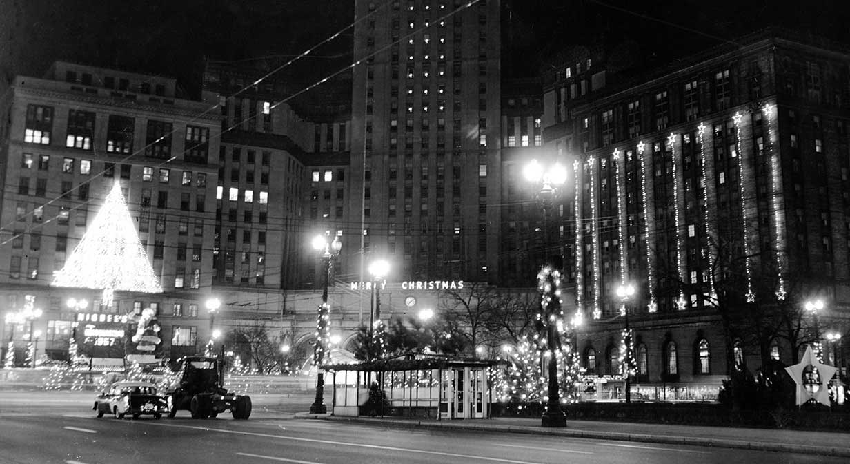 Public Square decorated for Christmas, 1957