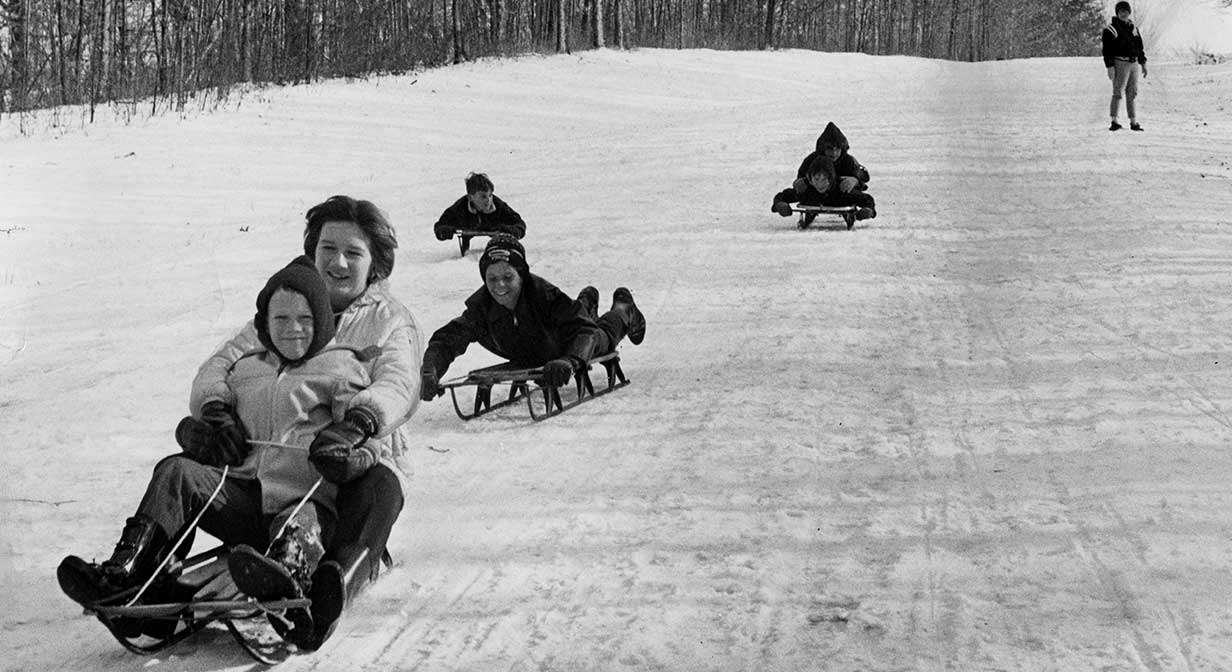 Sled riding in Cleveland Metroparks, 1967.