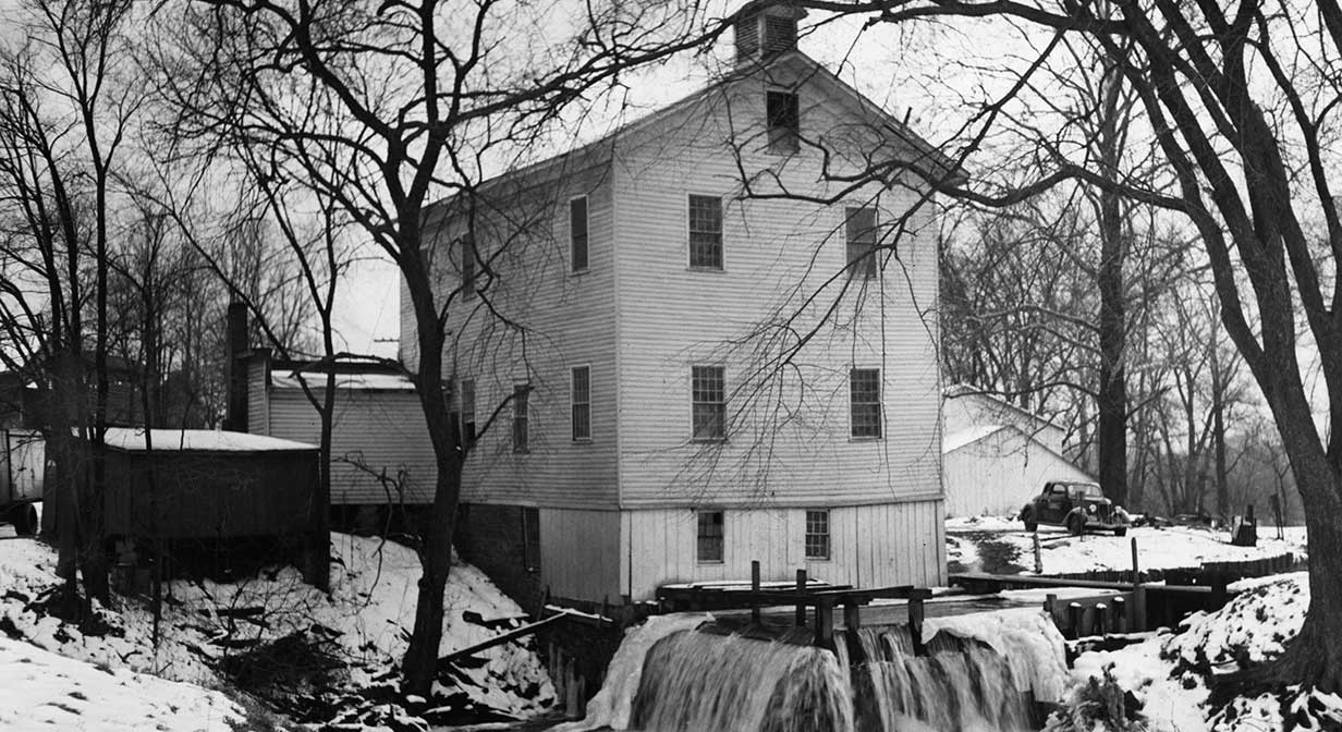Winter scene at the Old Grist Mill on Canal Road, 1942