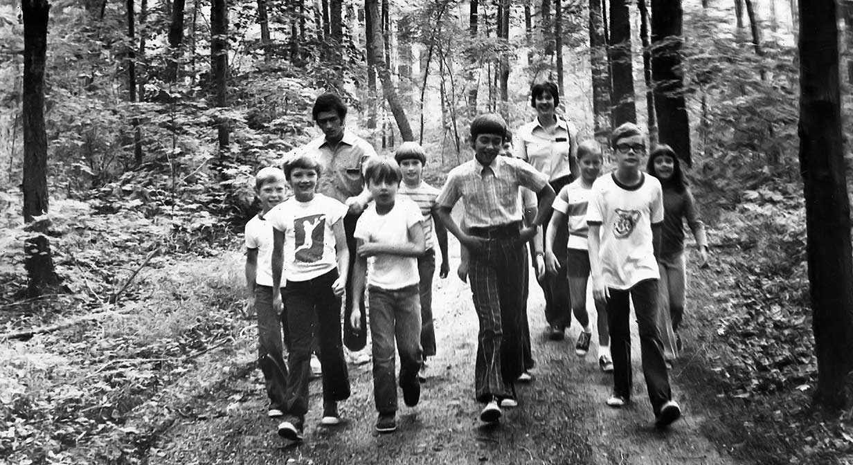 Naturalists and children hiking in the Cleveland Metroparks.