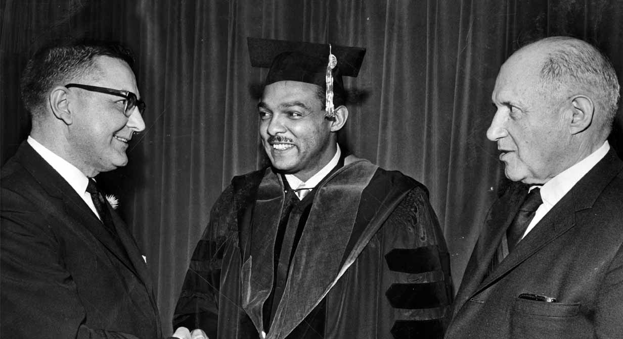 Mayor Carl B. Stokes receives his law degree from Cleveland Marshall law school, 1968.