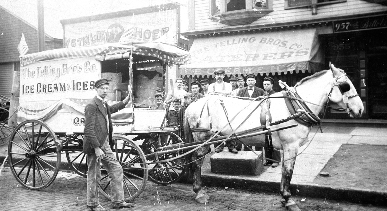 Telling Brothers Company ice cream truck, c. 1900