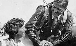 Jimmy Haizlip greets Amelia Earhart at the 1932 National Air Races