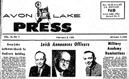 Avon Lake Press front page, Feb. 5, 1959