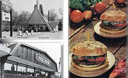 Collage depicting two fast-food restaurants and hamburgers