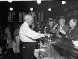 Otto Moser at his bar