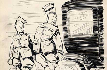 Roy Grove WWI cartoon of two soldiers nearly being hit by a car.