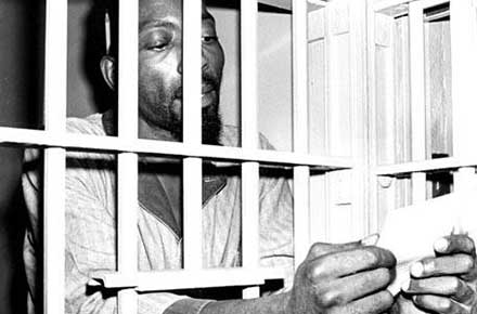 Fred (Ahmed) Evans in jail, 1968