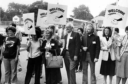 Welcoming Committee at John Marshall on first day of crosstown busing, 1979.