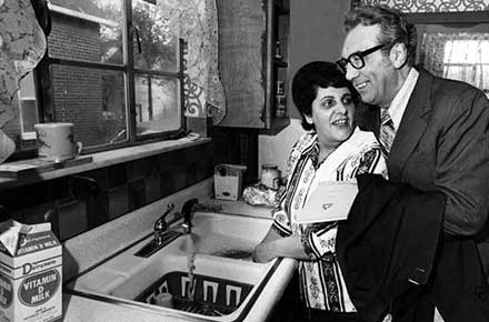 Mayor-elect Ralph J. Perk and his wife Lucille in their kitchen