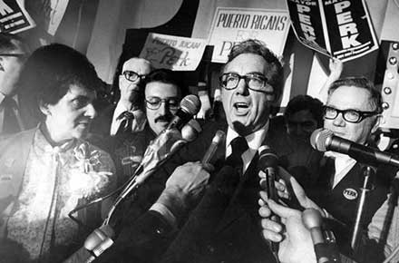 Ralph J. Perk declares victory in the 1975 mayoral election