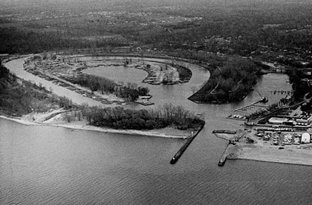 Aerial of Mentor Lagoons, looking South, 1956.