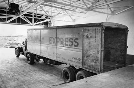 Delivery truck inside Patterson-Sargent plant, 1946