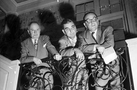 The Play House's famed triumvirate, Frederick McConnell, director, K. Elmo Lowe, assistant director & Max Eisenstat, backstage manager, 1955